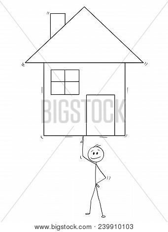 Cartoon Stick Man Drawing Conceptual Illustration Of Businessman Balancing Family House On One Finge