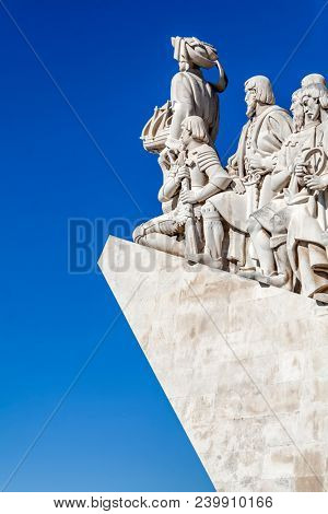 Lisbon, Portugal - June 30, 2013: Detail of Padrao dos Descobrimentos monument. The Sea Discoveries Monument commemorates the navigators who explored the oceans and continents and created globalism