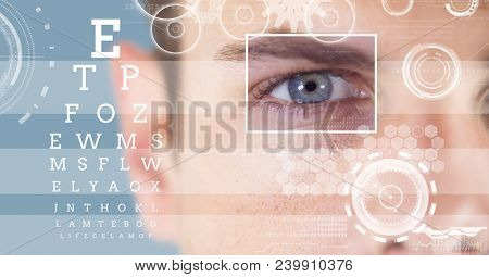 man with eye focus box detail and lines and Eye test interface
