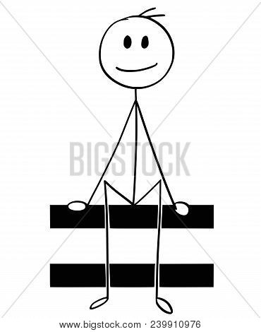 Cartoon Stick Man Drawing Conceptual Illustration Of Businessman Holding Or Sitting On Big Equal Or