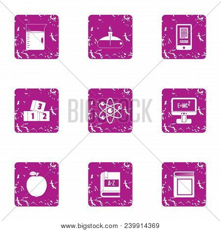 Scholarship Icons Set. Grunge Set Of 9 Scholarship Vector Icons For Web Isolated On White Background
