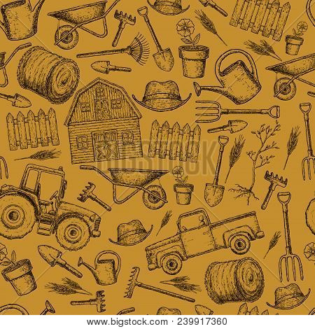 Seamless Background Of Colorful Sketch Farming Equipment Icons. Farming Tools And Agricultural Machi