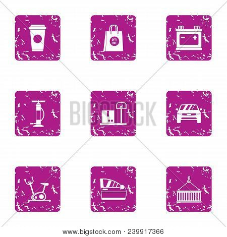 Technical Figure Icons Set. Grunge Set Of 9 Technical Figure Vector Icons For Web Isolated On White