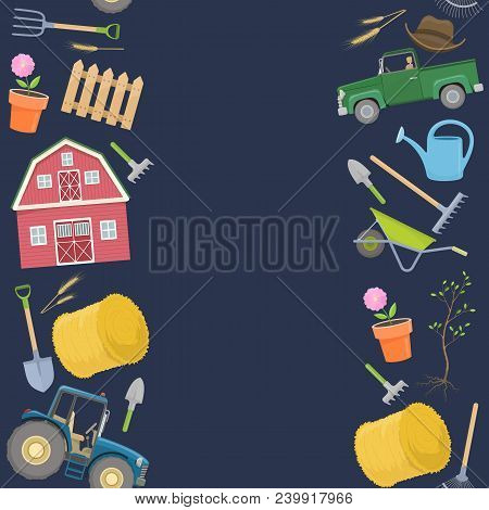 Seamless Borders Of Colorful Farming Equipment Icons. Farming Tools And Agricultural Machines Decora