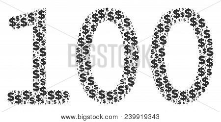 100 Text Mosaic Of Dollars And Round Dots. Vector Banking Icons Are Composed Into 100 Text Mosaic.