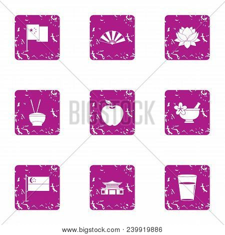 Asian Aroma Icons Set. Grunge Set Of 9 Asian Aroma Vector Icons For Web Isolated On White Background