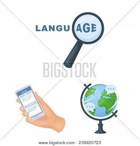 Translator And Linguist Cartoon Icons In Set Collection For Design. Interpreter Vector Symbol Stock