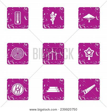 Country Style Icons Set. Grunge Set Of 9 Country Style Vector Icons For Web Isolated On White Backgr