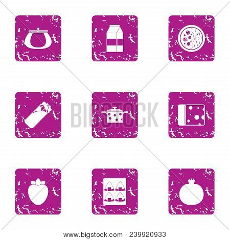 Refrigerator Food Icons Set. Grunge Set Of 9 Refrigerator Food Vector Icons For Web Isolated On Whit