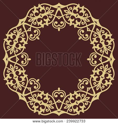 Oriental Rounad Golden Pattern With Arabesques And Floral Elements. Traditional Classic Ornament. Vi