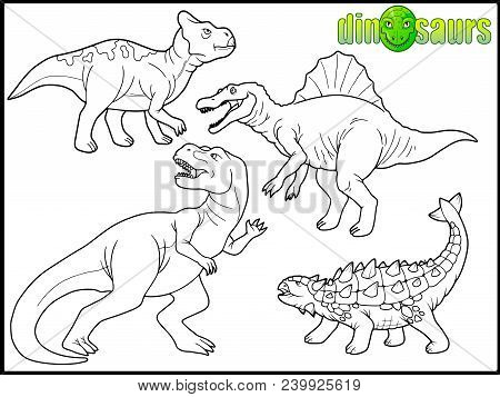 Dinosaurs Set Of Vector Images, Book Coloring Book