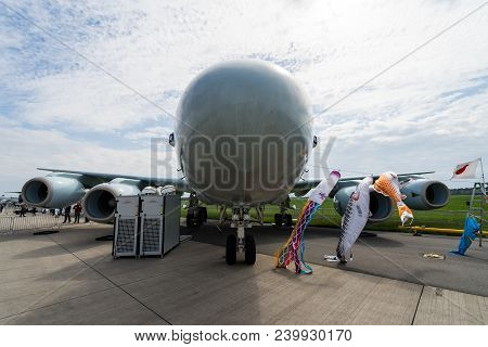 Berlin, Germany - April 25, 2018: Maritime Patrol Aircraft Kawasaki P-1. Japan Maritime Self-defense