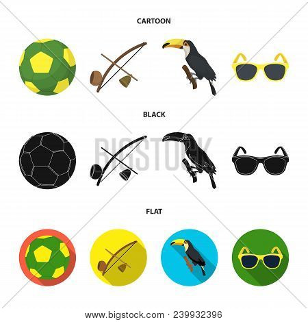 Brazil, Country, Ball, Football . Brazil Country Set Collection Icons In Cartoon, Black, Flat Style