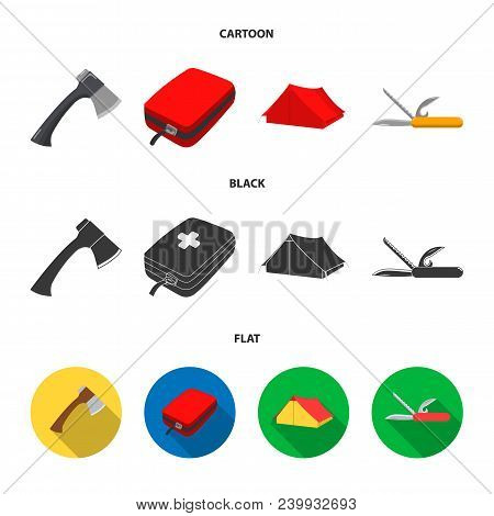Ax, First-aid Kit, Tourist Tent, Folding Knife. Camping Set Collection Icons In Cartoon, Black, Flat