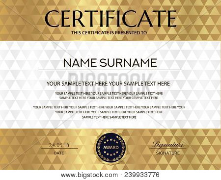 Certificate With White Abstract Background. Design Template With Gold Abstract Pattern (geometric Tr