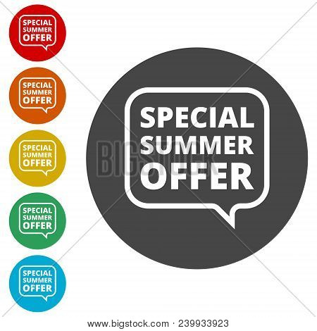 Special Summer Offer Sign, Simple Icons Set