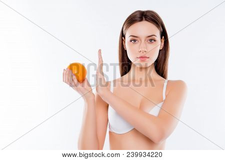 Against Struggle Fight Cellulite Concept. Portrait Of Confident Serious Beautiful Attractive Woman G