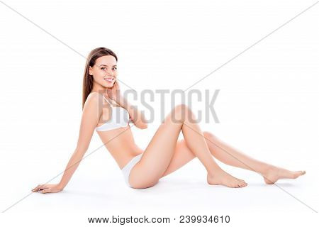 Slender, Attractive, Slim, Charming, Pretty Woman Sitting Over White Background In Bra And Bikini, L
