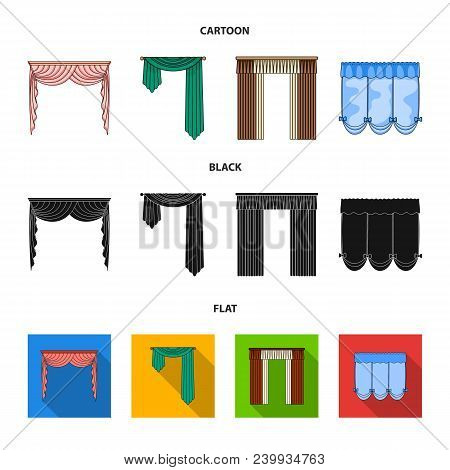 Different Types Of Window Curtains.curtains Set Collection Icons In Cartoon, Black, Flat Style Vecto