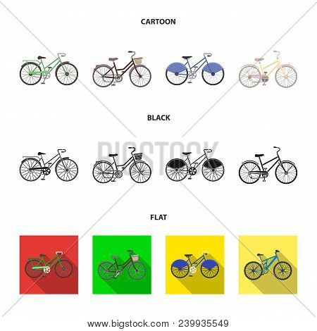 Sports Bike And Other Types.different Bicycles Set Collection Icons In Cartoon, Black, Flat Style Ve