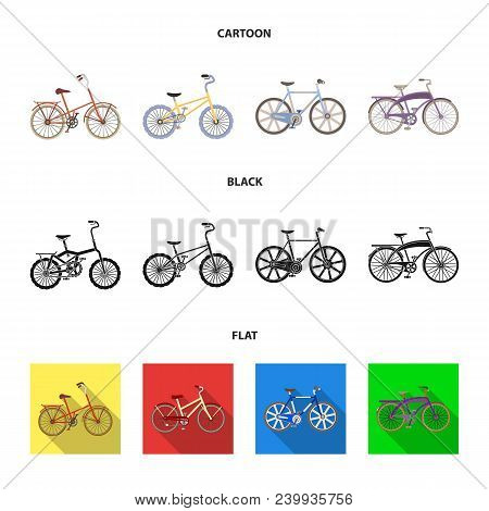 Children Bicycle And Other Kinds.different Bicycles Set Collection Icons In Cartoon, Black, Flat Sty