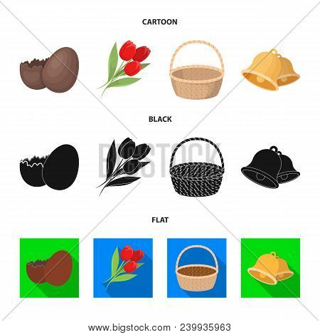 Chocolate Egg, Bells, Basket And Flowers.easter Set Collection Icons In Cartoon, Black, Flat Style V