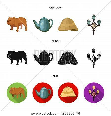 Breed Dog, Teapot, Brewer .england Country Set Collection Icons In Cartoon, Black, Flat Style Vector
