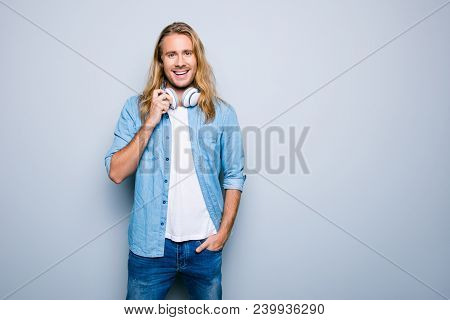 Portrait With Copy Space Of Caucasion, Bearded, Smiling Guy With Bristle, Music Fan, Lover, In Jeans