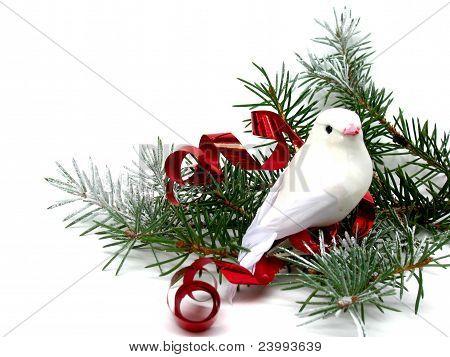 White dove on Christmas tree