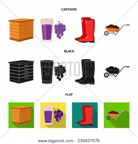 Hive, Grapes, Boots, Wheelbarrow.farm Set Collection Icons In Cartoon, Black, Flat Style Vector Symb