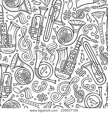Cartoon Hand-drawn Classic Music Seamless Pattern. Lots Of Symbols, Objects And Elements. Perfect Fu
