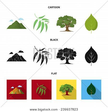 Mountain, Cloud, Tree, Branch, Leaf.forest Set Collection Icons In Cartoon, Black, Flat Style Vector