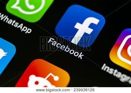 Sankt-petersburg, Russia, May 10, 2018: Facebook Application Icon On Apple Iphone X Smartphone Scree