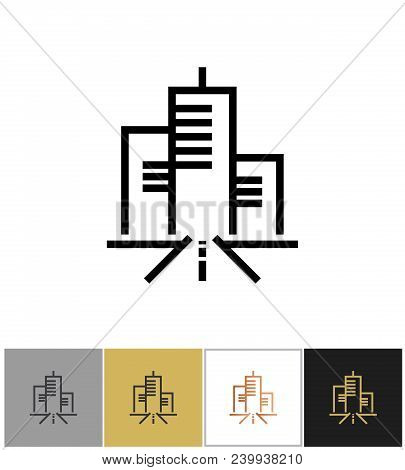 City Icon, Urban Living Sign Or Metropolitan Residence Symbol On White And Black Backgrounds. Vector