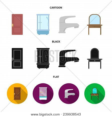 Door, Shower Cubicle, Mirror With Drawers, Faucet.furnitureset Collection Icons In Cartoon, Black, F