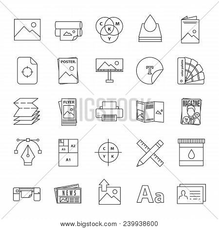 Printing Linear Icons Set. Polygraphy And Typography. Posters, Flyers, Brochures, Booklets Templates