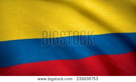 Colombia Flag Pattern On The Fabric. Flag Of Colombia Background.