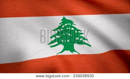 Lebanon Waving Flag. Flag Of Lebanon Background.
