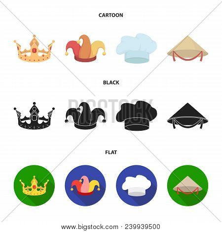 Crown, Jester Cap, Cook, Cone. Hats Set Collection Icons In Cartoon, Black, Flat Style Vector Symbol