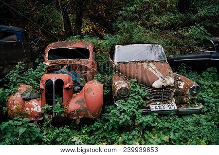 Pasanauri, Georgia - October 21, 2016: Old Rusted Out Scrap Retro Car Opel Kapitan 1948 That Has Bee