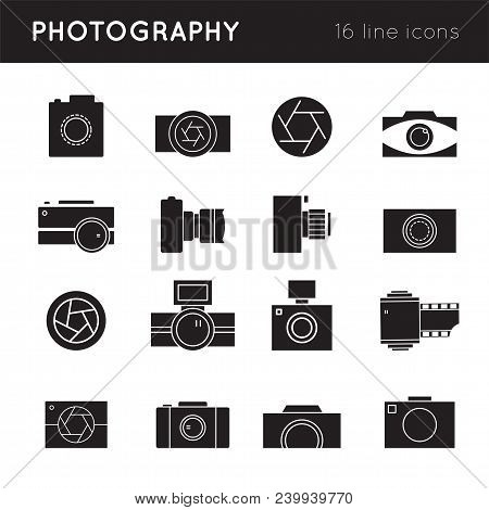 Photography Thin Line Icons Set, Vector Illustration. Camera Silhouettes. Logo Templates For Photogr