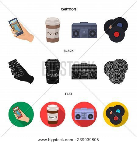 Hipster, Fashion, Style, Subculture .hipster Style Set Collection Icons In Cartoon, Black, Flat Styl