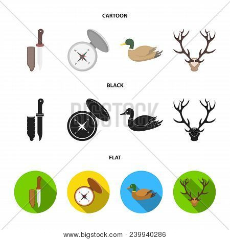 Knife With A Cover, A Duck, A Deer Horn, A Compass With A Lid.hunting Set Collection Icons In Cartoo