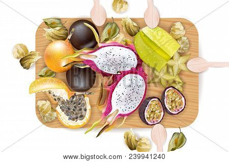 Exotic Fruits Pattern Vector Realistic. Dragon Fruit, Granadilla, Passion Fruits, Starfruit, Physali