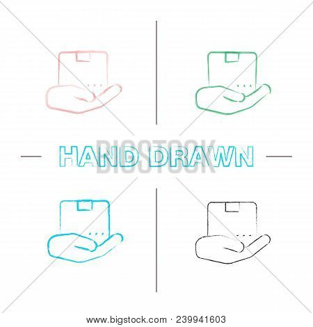 Open Hand With Parcel Hand Drawn Icons Set. Color Brush Stroke. Isolated Vector Sketchy Illustration
