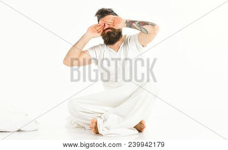 Hipster With Beard And Mustache Waking Up, Sleepyhead. Man With Sleepy Face Wipe Eyes, Wake Up. Morn