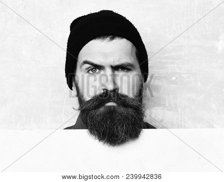 Bearded Man In Black Cap, Long Beard, Brutal Caucasian Hipster With Moustache Getting Beard Haircut