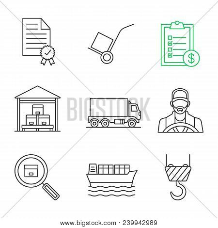 Cargo Shipping Linear Icons Set. Certificate, Dolly Cart, Invoice, Storage, Delivery Truck, Driver,