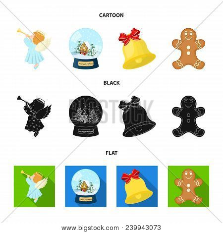 Angel, Glass Bowl, Gingerbread And Bell Cartoon, Black, Flat Icons In Set Collection For Design. Chr