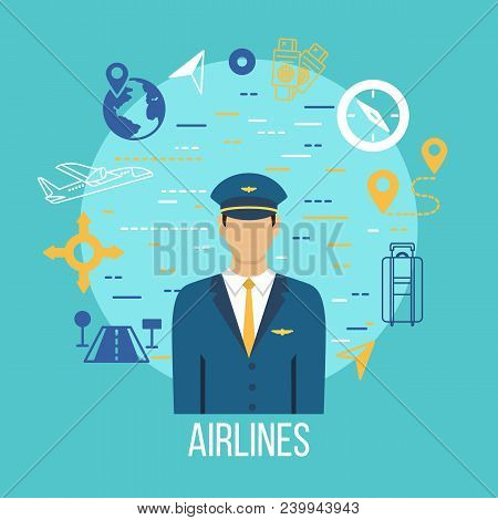 Pilot Profession Flat Icons With Captain. Airlines Travel Concept Icons Set With Pilot. Luggage, Tro
